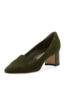 Acorda 50mm Suede Loafer Pumps by Manolo Blahnik