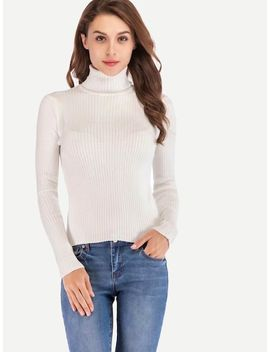 High Neck Fitted Rib Knit Trim Jumper by Sheinside