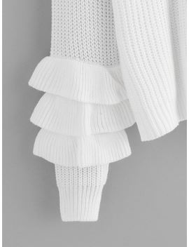 Solid Tiered Ruffle Sleeve Sweater by Shein