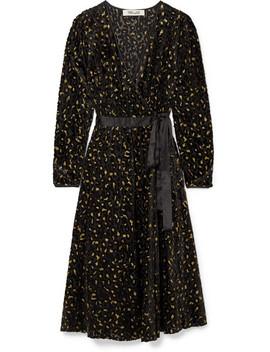 Satin Trimmed Metallic Flocked Chiffon Wrap Dress by Diane Von Furstenberg