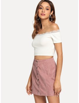 Button Up Cord Skirt by Shein