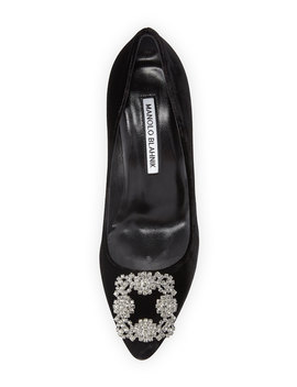 Hangisi Crystal Buckle Velvet 70mm Pumps by Neiman Marcus