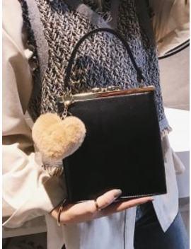 Toe Handle Heart Pendant Crossbody Bag   Black by Zaful