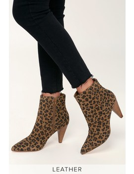 Henry Leopard Suede Leather High Heel Ankle Booties by Lulus X Matisse
