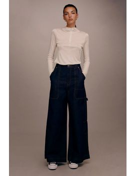 **Wide Leg Cargo Jeans By Boutique by Topshop