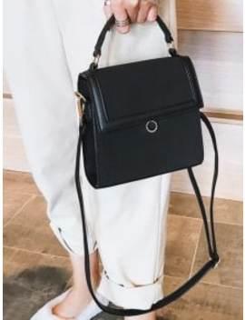Magnetic Snap Design Crossbody Bag   Black by Zaful