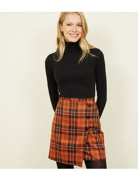 Orange Check Button Side Wrap Mini Skirt by New Look