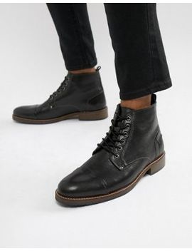 Dune Lace Up Boots In Black Leather by Dune