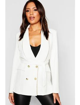 Woven Military Gold Piping Double Breasted Blazer by Boohoo