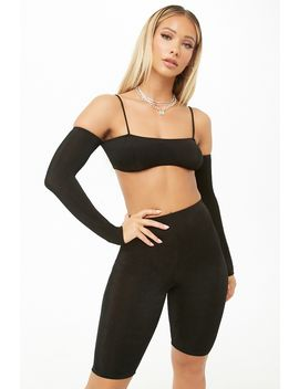 Open Shoulder Crop Top & Biker Shorts Set by Forever 21