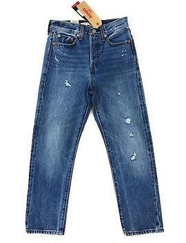 Levis Selvedge Red Line Denim Jeans Wedgie Straight Fit Womens Distressed $158 by Levi's