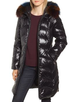 Water Repellent Down & Feather Coat With Genuine Fox Fur Trim by 1 Madison