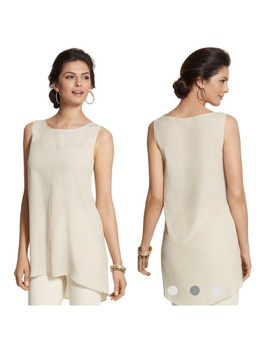 Chicos Lenore Tank Top Long Layer Semi Sheer Sz 2 LNwt by Chico's