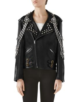 Back Logo Crystal Embellished Biker Jacket by Gucci