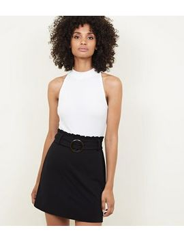Black Faux Horn Buckle Paperbag Waist Skirt by New Look