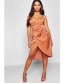 Petite Satin Spot Print Wrap Midi Dress by Boohoo