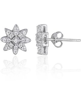 Cz Sterling Silver Flower Stud Earrings by