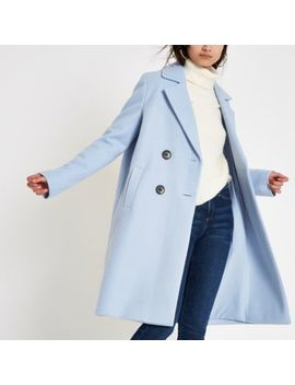 Blue Knit Double Breasted Coat by River Island