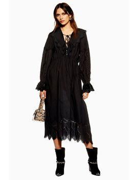 Long Sleeve Broderie Dress by Topshop