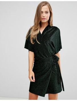 Flounce London Wrap Front Velvet Kimono Mini Dress In Multi Stripe by Flounce London