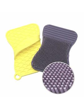 Silicone Sponge And Scrubber For Dish, Kitchen And Bathroom Cleaning – Extra Size Brush, Antibacterial, Heat Resistant, Odor And Mold Free | 2 Pack Violet/Yellow by Teal Trunk Llc