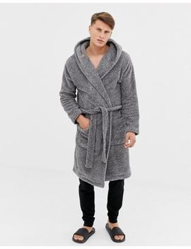 Asos Design Hooded Dressing Gown In Fluffy Grey by Asos Design