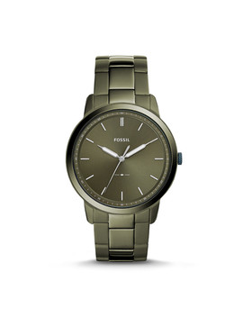 The Minimalist Three Hand Olive Gray Stainless Steel Watch by Fossil