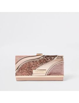 Light Pink Glitter Swirl Cliptop Purse by River Island