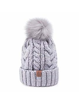 Redess Women Winter Pom Pom Beanie Hat With Warm Fleece Lined, Thick Slouchy Snow Knit Skull Ski Cap by Redess