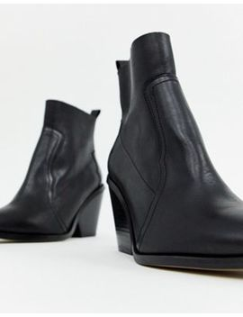 River Island Leather Western Boots With Chunky Heel In Black by River Island