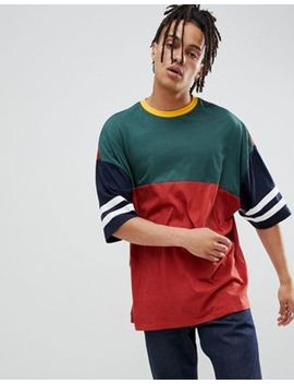 Asos Design Oversized Longline T Shirt With Half Sleeve With Retro Color Block In Burgundy by Asos Design