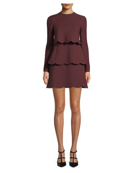 Crepe Couture Long Sleeve Scallop Tiered Dress by Valentino
