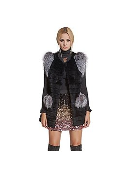 Fur Story Women's Real Rabbit Fur Vest Silver Fox Fur Shoulder Pockets Sleeveless O Neck by Fur Story