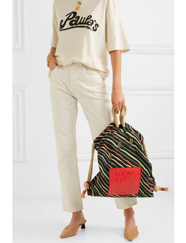 + Paula's Ibiza Yago Leather Trimmed Printed Cotton Canvas Backpack by Loewe