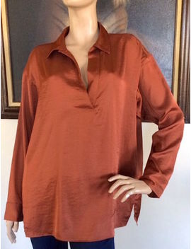 Uniqlo Women Brown Satin Long Sleeve Blouse Nwt Size L by Uniqlo