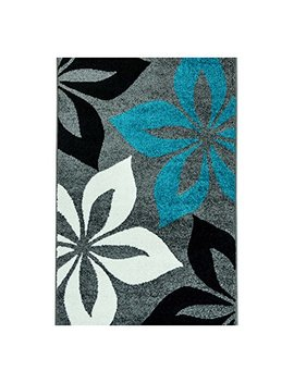 Carpetcity Modern Rug Moda Öko Tex Turquoise Flower On Grey Cream Black Various Sizes, Turquoise, 80 Cm X 150 Cm by Carpetcity