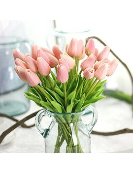 Bringsine Premium Artificial Flowers Real Touch Mini Pu Tulips Bouquet Artificial Plants For Wedding Room Home Hotel Party Event Christmas Decoration Pink Set Of 20 by Bringsine