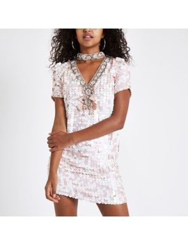 Pink Sequin Choker Neck Swing Dress by River Island