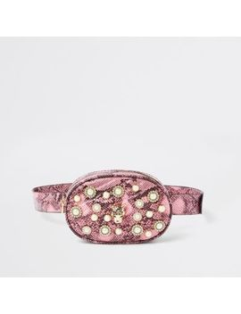 Pink Snake Print Embellished Belt Bum Bag by River Island