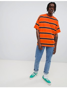 Asos Design Oversized T Shirt With Orange Retro Stripe by Asos Design
