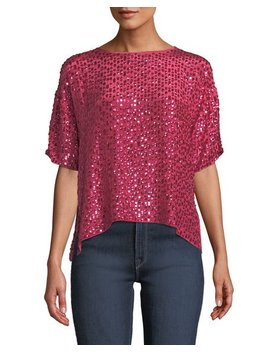 Sequined Short Sleeve Cropped Shirt by Velvet By Graham & Spencer