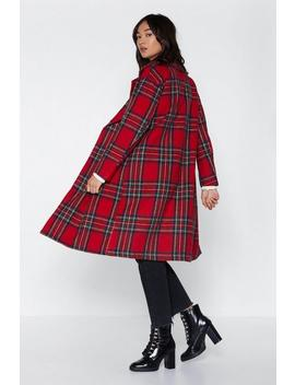 Tartan Check Wool Look Coat by Nasty Gal