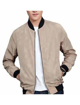 Plaid&Plain Men's Sportswear Lightweight Slim Stand Collar Floral Bomber Jacket by Plaid&Plain