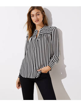 Mixed Stripe Puff Sleeve Blouse by Loft
