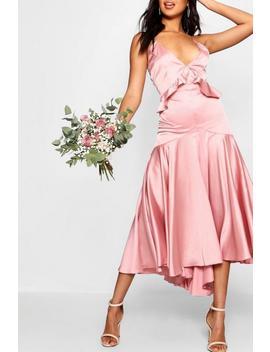 Boutique Satin Dip Hem Ruffle Detail Dress by Boohoo