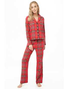Plaid Print Pajama Set by Forever 21