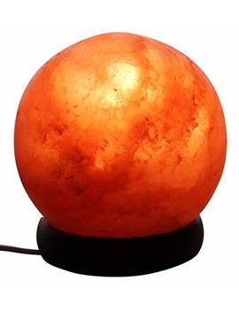 Mockins Natural Himalayan Salt Sphere Lamp The Salt Crystal Globe Lamp Is Hand Carved With A Wooden Base   Best by Mockins