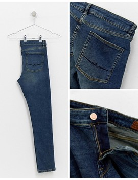 Asos Design Super Skinny Jeans In Dark Wash Blue With Abrasions by Asos Design