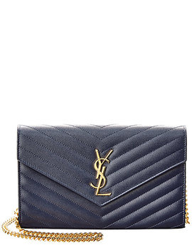 Saint Laurent Monogram Matelasse Leather Wallet On Chain by Saint Laurent