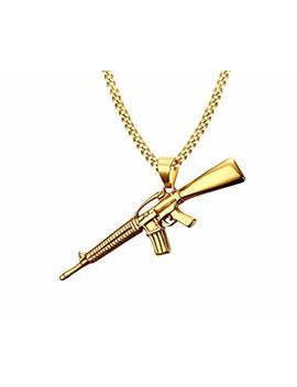 Vnox Men's 18 K Gold Plated Stainless Steel Submachine Gun Pendant Necklace Punk Gothic Cool Jewelry,Free Chain by Vnox